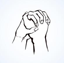 Praying Hands. Vector Drawing