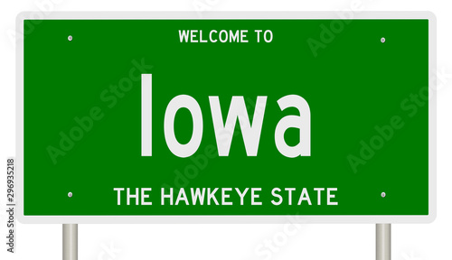 Rendering of a green 3d highway sign for Iowa Wallpaper Mural