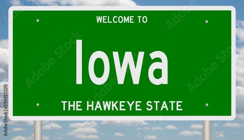 Photo  Rendering of a green 3d highway sign for Iowa