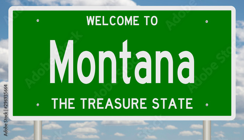 Rendering of a green 3d highway sign for Montana