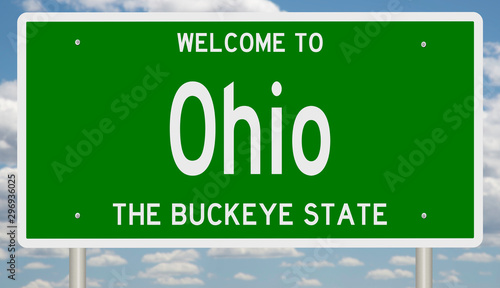 Fotografía Rendering of a green 3d highway sign for Ohio