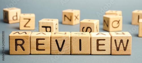 Fotografie, Obraz Wooden blocks with the word Review