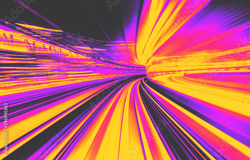 Fotografía  Abstract blurred motion tunnel in blue tinted black and white synth wave style