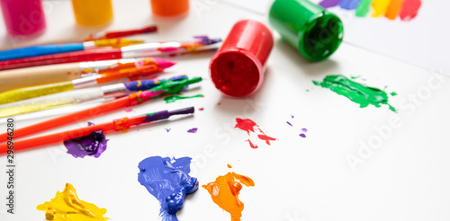 Obraz Colorful finger paints set on white color background - fototapety do salonu