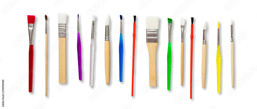Fototapety, obrazy: Paint brushes new clean isolated against white background.