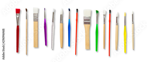 Paint brushes new clean isolated against white background. Принти на полотні