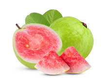 Guava Fruit With Leaf Isolated...