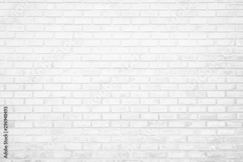 Leinwand Poster  Wall white brick wall texture background in room at subway
