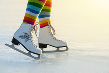 Skates On Ice In Winter