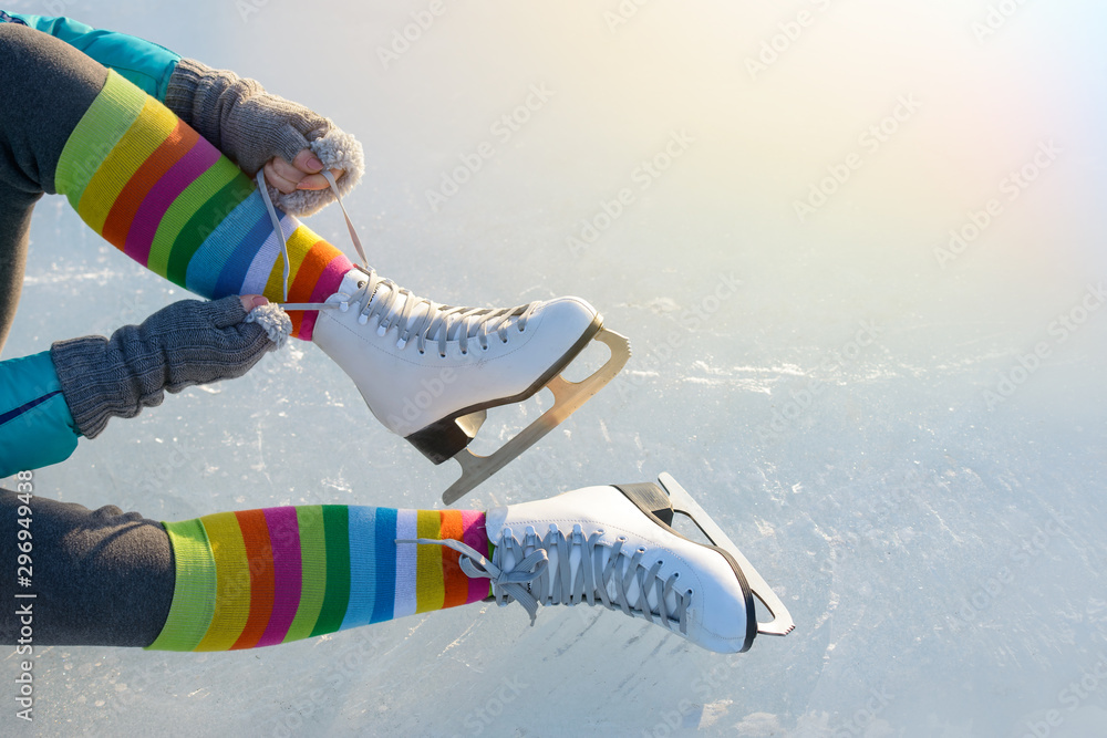 Fototapety, obrazy: Skates on ice in winter