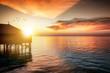 canvas print picture - Sonnenuntergang hinter einer Wasser Villa im Indischen Ozean, Malediven