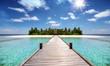 Tropisches Reisekonzept: Holzsteg führt auf eine tropische Insel mit türkisem Ozean, Kokosnusspalmen und feinem Sandstrand, Malediven