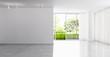 Leinwandbild Motiv large luxury modern bright interiors empty room illustration 3D rendering computer generated image