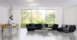 Leinwandbild Motiv large luxury modern bright interiors Living room illustration 3D rendering computer digitally generated image