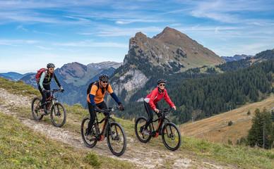 Fototapetathree happy senior adults, riding their mountain bikes in the autumnal atmosphere of the Bregenz Wald mountains near Mellau, Vorarlberg, Austria