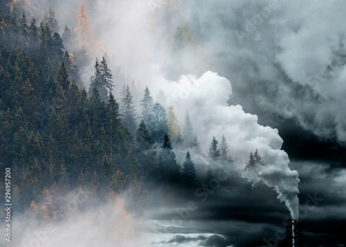 Canvas-taulu factory smoke covering pine forest double exposure global warming climate change
