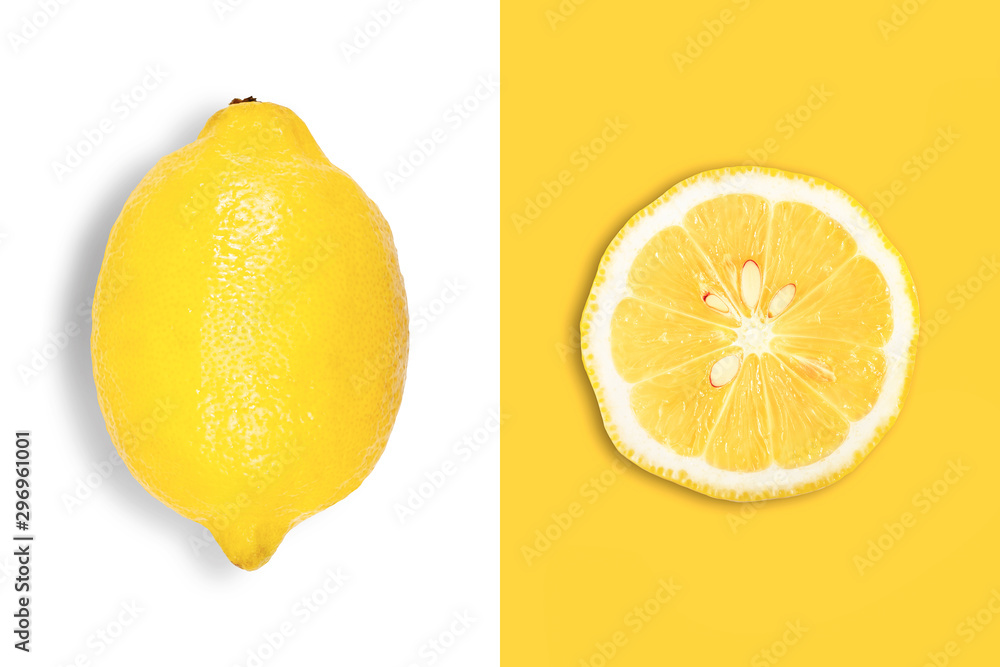 Fototapety, obrazy: Creative layout made of big lemon and slice. Flat lay. Food concept.