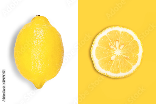 Creative layout made of big lemon and slice. Flat lay. Food concept. - 296961001