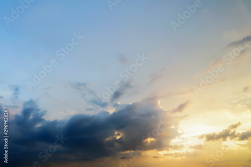 Stampa su Tela  Dramatic atmosphere panorama view of artistic colorful twilight sky and clouds in tropical summer season