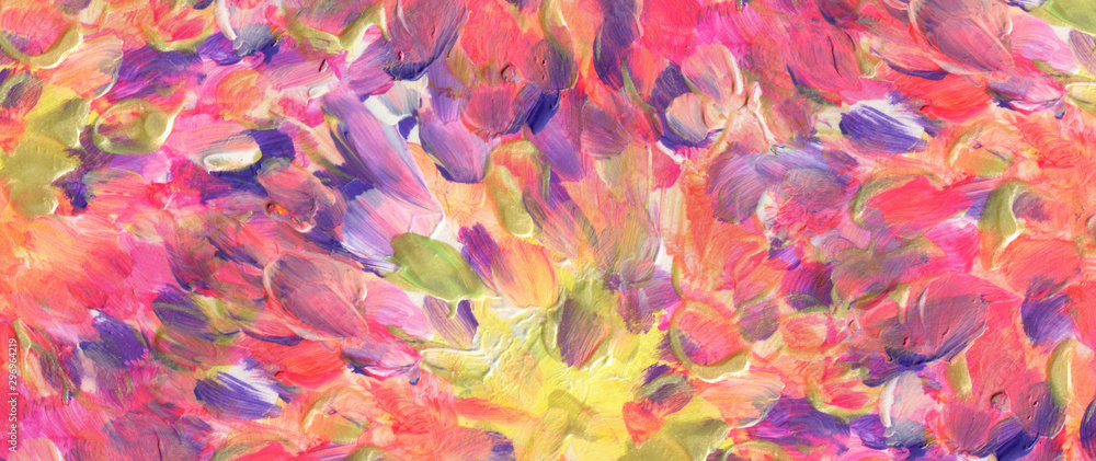 Fototapeta Abstract acrylic and watercolor smear painting. Canvas texture background. Horizontal long banner..