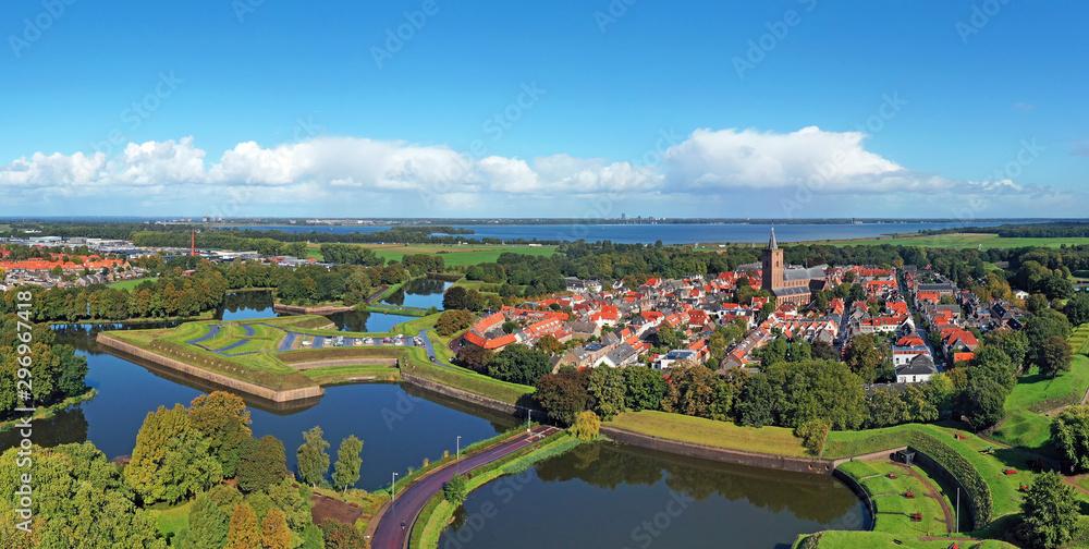 Fototapeta Aerial panorama from Naarden Vesting in the Netherlands - obraz na płótnie