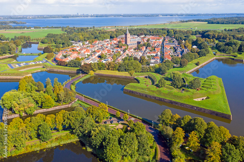 Aerial from the historical city of Naarden in the Netherlands Fototapete