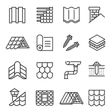 Housetop Construction Materials Linear Vector Icons Set