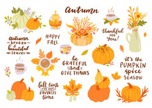 Hand Drawn Autumn Clip Art Set With Lettering. Pumpkins, Leaves, Candle, Cup.