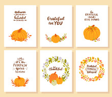 Set Of Happy Thanksgiving Cards. Grateful Thankful Blessed.
