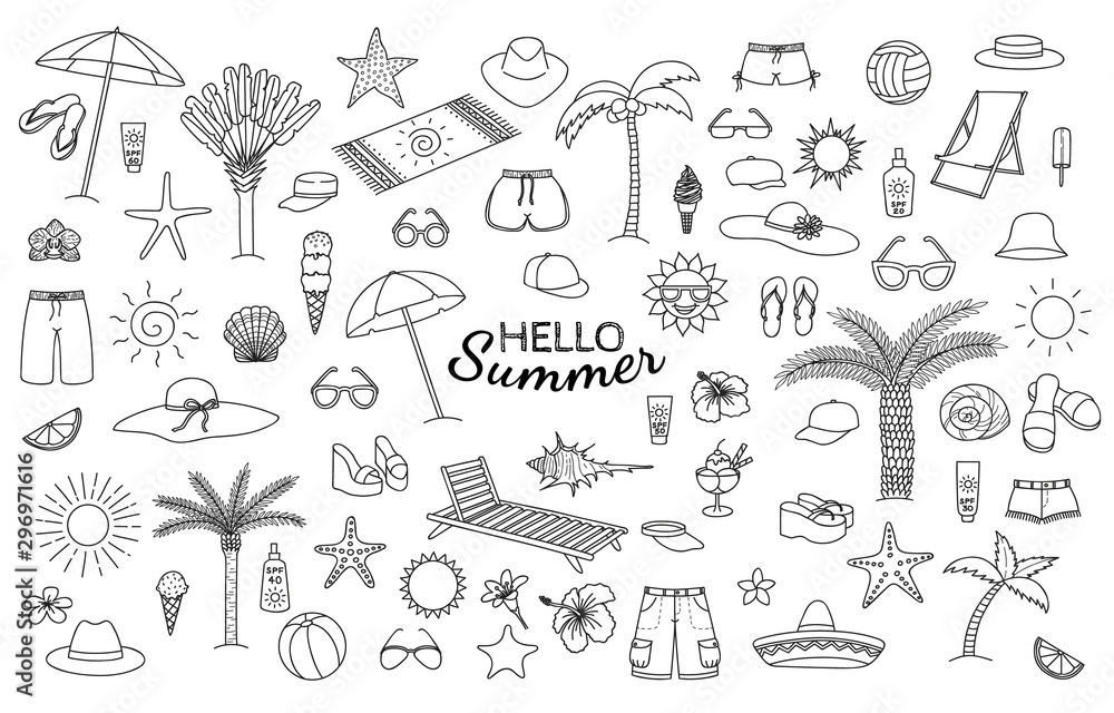 Fototapety, obrazy: Big collection of summer theme hand drawn doodles. Vector eps10.