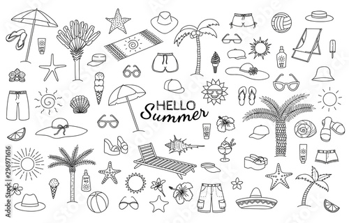 Pinturas sobre lienzo  Big collection of summer theme hand drawn doodles. Vector eps10.