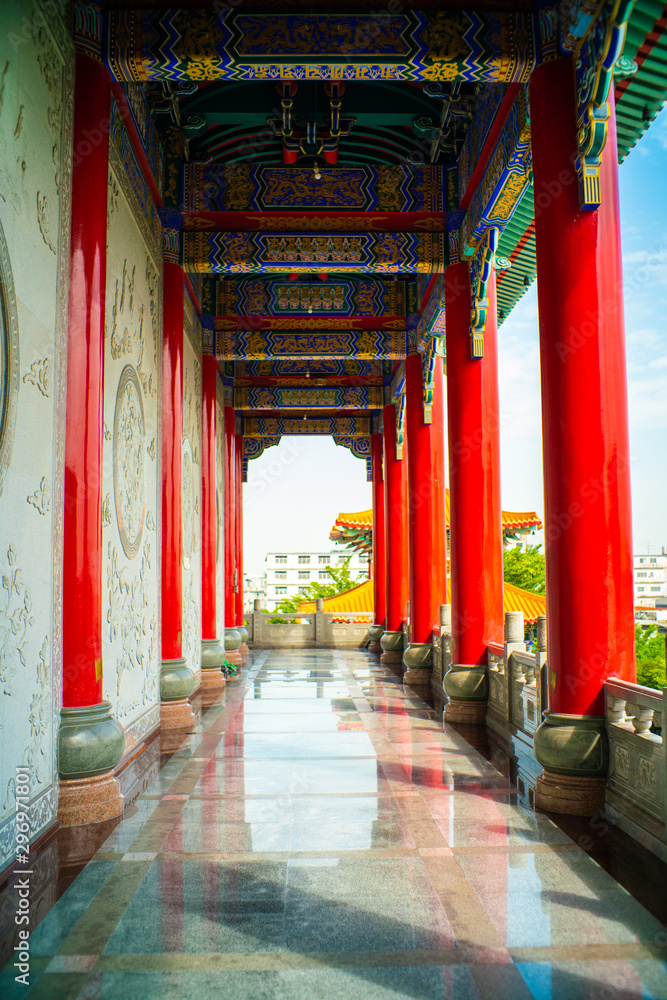 Fototapety, obrazy: Old Zen Chinese style  Boromracha temple with blue sky in Nonthaburi