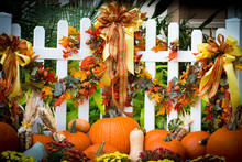 An October Halloween Scene Showing Pumpkins And Gourds