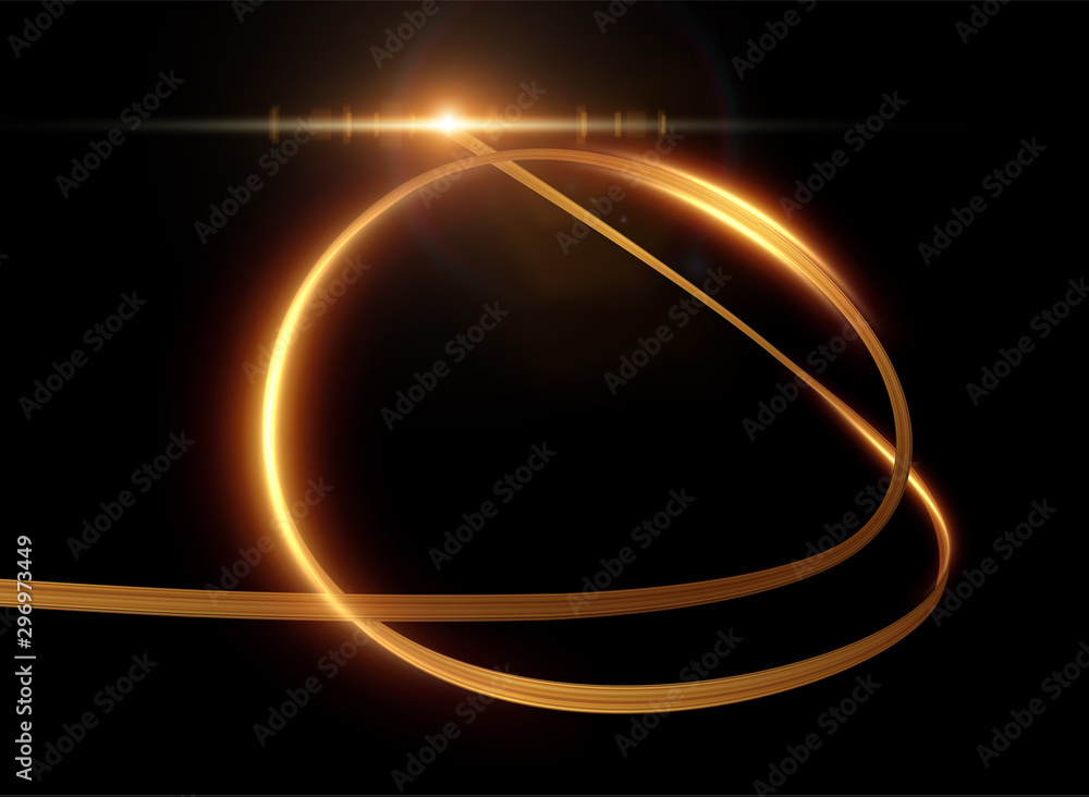 Fototapety, obrazy: Golden ribbon with light trail effect and energy lines vector background.