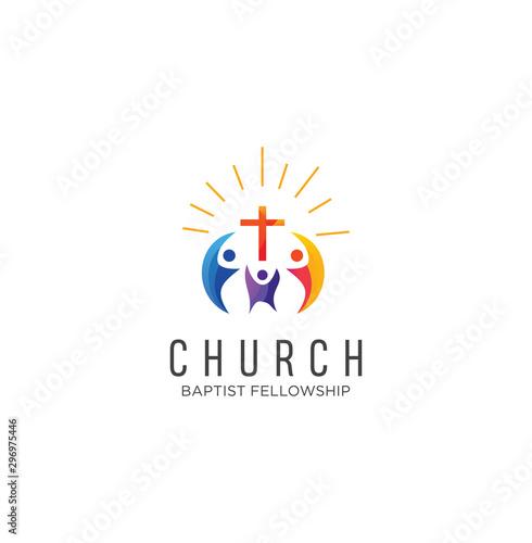 Community church logo design inspiration Vector . Family Church Logo Icon On White Background Stock Vector . Church Colorful Logo Vector
