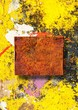 canvas print picture - Vertical artsy shot of a brown square on a messy yellow surface