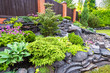 Landscape design of home garden close-up. Detail of beautiful landscaped garden with green plants, flowers and small waterfall. Natural stone landscaping in backyard in summer.