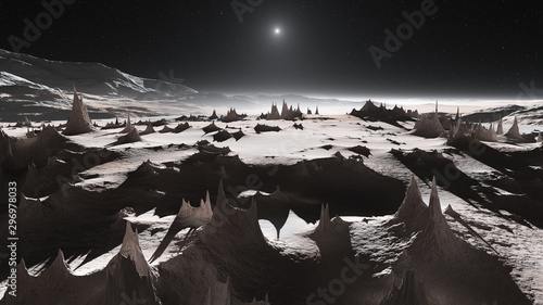 View of Pluto's mountains and icy plains фототапет
