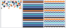 3 Abstract Vector Seamless Prints. Orange, Pink, Blue And Black Dots Isolated On A White Background. Colorful Horizontal Chevron On A Navy Blue. Multicolor Stripes Isolated On A Blue Layout.