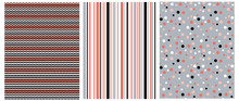 Set Of 3 Varius Abstract Vector Prints. Red, White And Black Dots Isolated On A Gray Background. Black, Red And Gray Vertical Stripes On A White. Red, White And Gray Vertical Chevron On A Black.