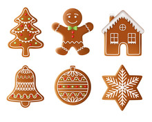 Christmas Tree, Man, House, Bell, Ball And Star Gingerbread Vector