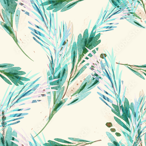 Tapety Turkusowe seamless-pattern-of-branches-with-berries-watercolor-background