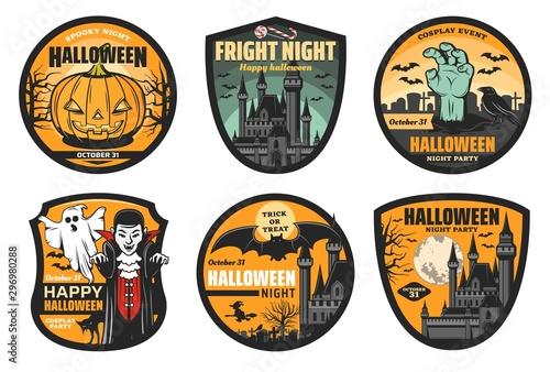 Obraz Halloween pumpkin, ghost, bat and vampire badges - fototapety do salonu