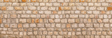 Texture Of Unshaped Brown Stone Wall Pattern, Made Of Rocks