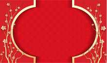 Blank Chinese New Year Background Design With Flowers On Red Texture, Paper Art Style - Vector