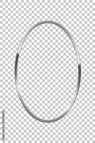 Cuadros en Lienzo Silver oval isolated on transparent background
