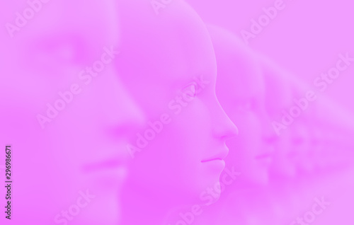 canvas print motiv - ParamePrizma : Abstract background with many identical out-of-focus female doll faces, one of which is in focus 3D illustration