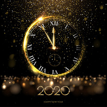 Golden 2020 Number With Big Watch Vector Illustration