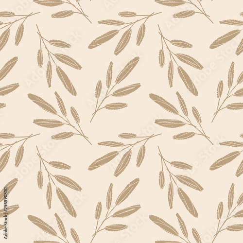 Tapety Beżowe hand-sketched-leaves-seamless-pattern-with-chalk-texture-floral-vector-background