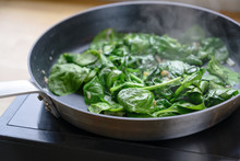 Fried Spinach Leaves In A Pan ...